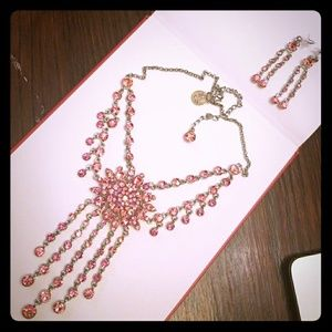 Spectacular Pink Rhinestone Necklace
